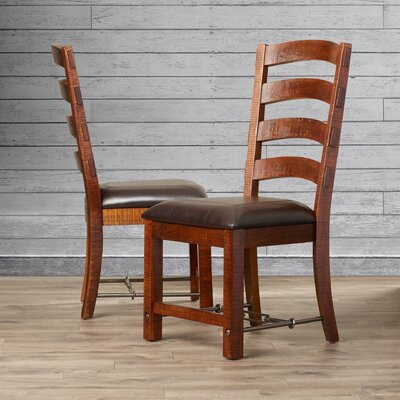 Diez Ladderback Genuine Leather Upholstered Dining Chair