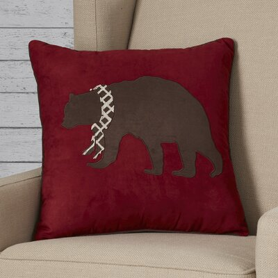 Apikuni Embroidered Suede Throw Pillow Color: Red