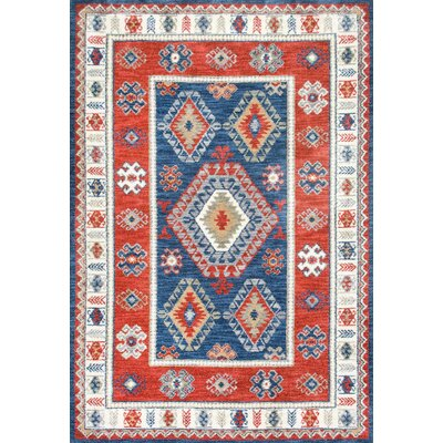 Rocky Blue/Red Area Rug Rug Size: Rectangle 76 x 96