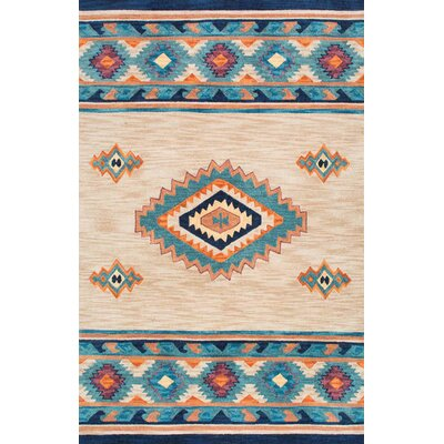 Tuttle Hand-Hooked Blue/Brown Area Rug Rug Size: 5 x 8