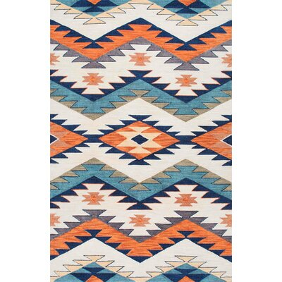Tuttle Hand-Hooked Blue/Orange Area Rug Rug Size: 5 x 8