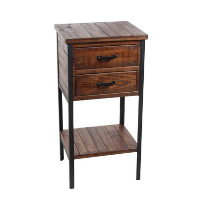 Keenesburg 2 Drawer Iron and Wood End Table