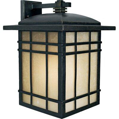 Woodard Rustic 1-Light Linen Glass Outdoor Wall Lantern