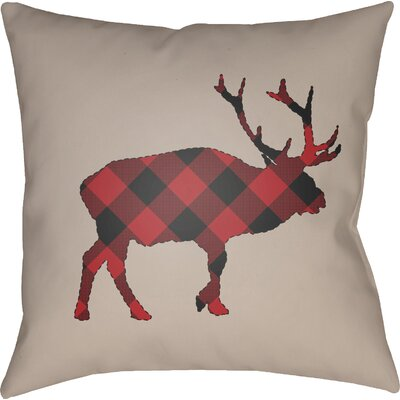 Bighorn Indoor Outdoor Throw Pillow Size: 18 H x 18 W x 4 D, Color: Red/Black