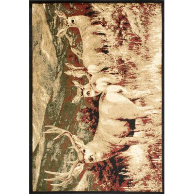 Adak Meadown Deer Brown/Ivory Area Rug Rug Size: 76 x 96