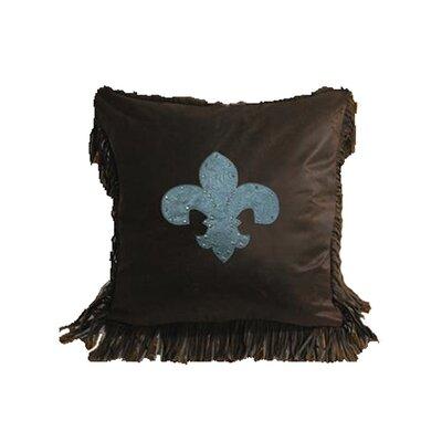 Applewood Faux Tooled Fleur De Lis Throw Pillow