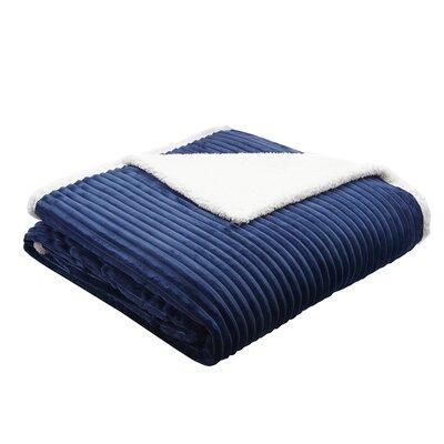 Wheat Ridge Corduroy Plush Blanket Size: Twin, Color: Blue