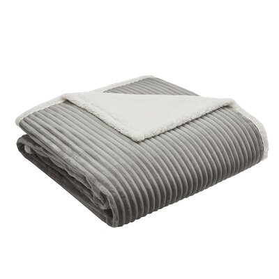 Wheat Ridge Corduroy Plush Blanket Size: King, Color: Gray