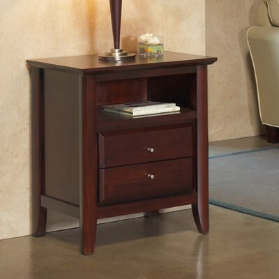 Pittsburg 2 Drawer Nightstand Finish: Coco, Charging Station: Included