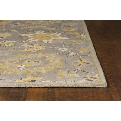 Glade Park-Gateway Hand-Tufted Gray/Yellow Area Rug Rug Size: Round 56