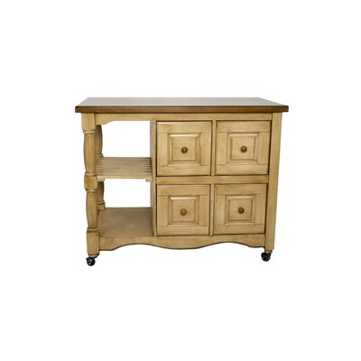 Lockwood 4 Drawer 2 Shelf Kitchen Cart Finish: Wheat