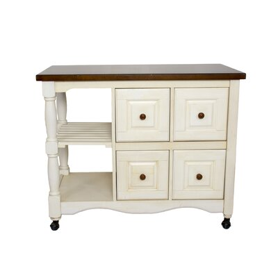 Lockwood 4 Drawer 2 Shelf Kitchen Cart Finish: Antique White