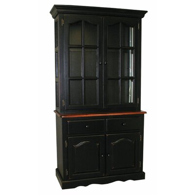 Lockwood Lighted China Cabinet Color: Antique Black / Cherry