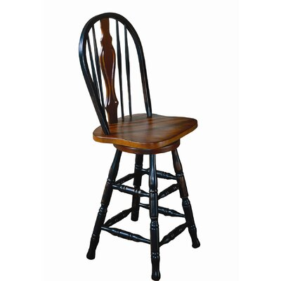 Lockwood 24 Swivel Bar Stool Finish: Antique Black / Cherry