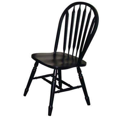 Lockwood Arrow Back Solid Wood Dining Chair Finish: Antique Black