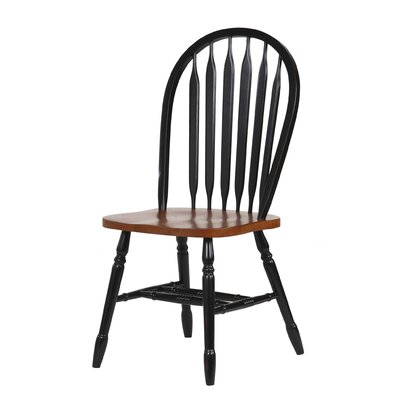 Lockwood Arrow Back Solid Wood Dining Chair Finish: Black / Cherry