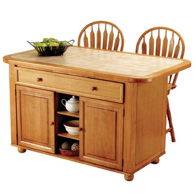 Lockwood Kitchen Island with Ceramic Tile Top and Stools Base Finish: Light Oak