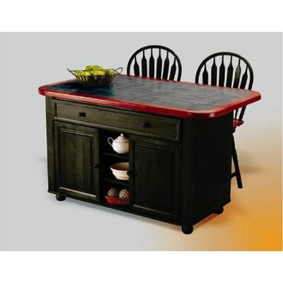 Lockwood Kitchen Island with Ceramic Tile Top and Stools Base Finish: Antique Black
