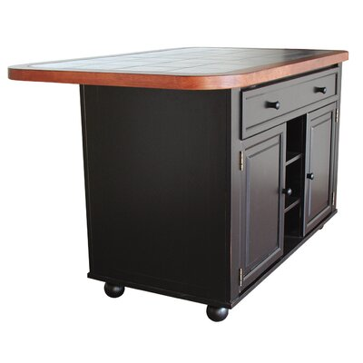 Lockwood Kitchen Island with Ceramic Tile Top Base Finish: Antique Black