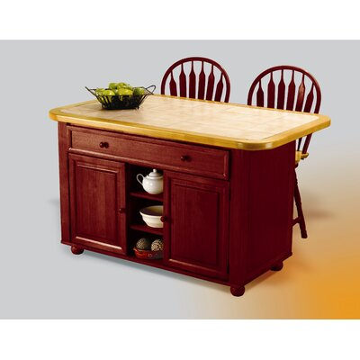 Lockwood Kitchen Island with Ceramic Tile Top and Stools Base Finish: Nutmeg Light Oak