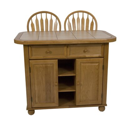 Lockwood Kitchen Island with Ceramic Tile Top Base Finish: Light Oak