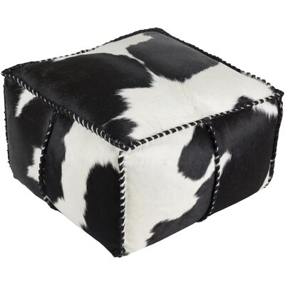 Campion Pouf Leather Ottoman Upholstery: Black