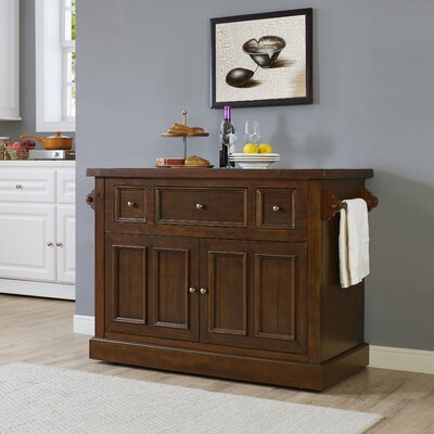 Ordway Kitchen Island with Marble Top Base Finish: Rustic Mahogany