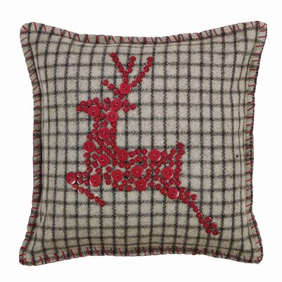 Weston Button Reindeer Felt Throw Pillow