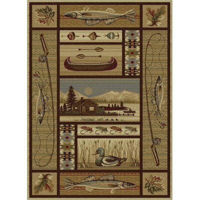 Justine Ivory/Brown Area Rug Rug Size: Rectangle 4 x 6