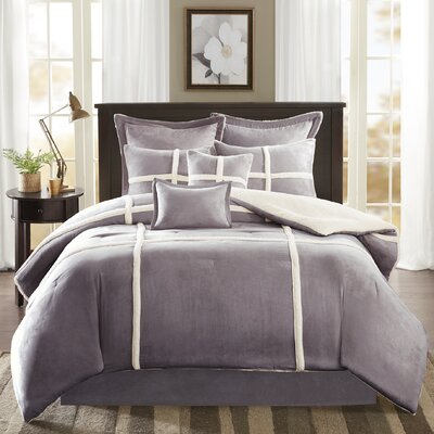 Chadwood Suede Comforter Set Size: Cal King, Color: Gray