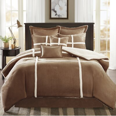 Chadwood Suede Comforter Set Size: Full, Color: Brown