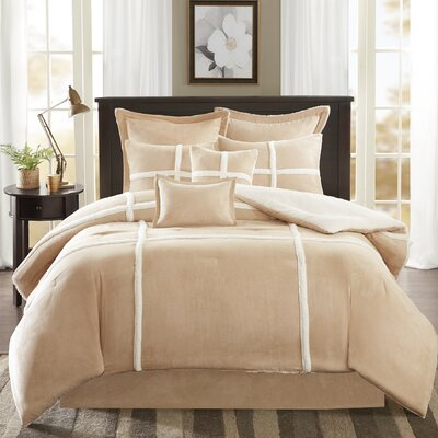 Chadwood Suede Comforter Set Size: King, Color: Tan