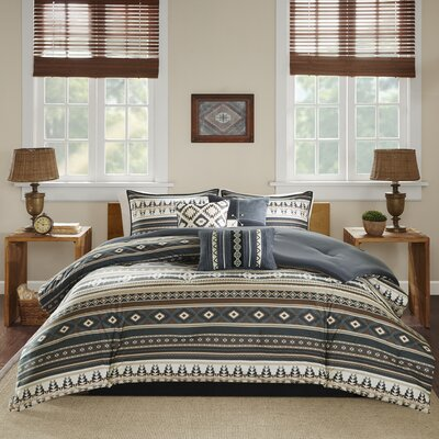 Hale 7 Piece Comforter Set Size: California King, Color: Black