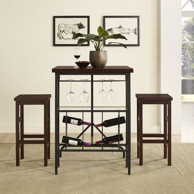 Ordway 3 Piece Dining Set Finish: Rustic Mahogany