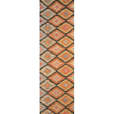 Sunnyvale Hand-Tufted Black/Orange Area Rug Rug Size: Rectangle 76 x 96