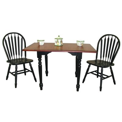Image of Copernicus 3 Piece Pub Table Set Pub Table Finish: Antique Black with Cherry, Chair Finish: Antique Black