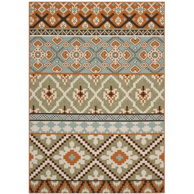 Rangely Green/Terracotta Indoor/Outdoor Area Rug Rug Size: 53 x 77