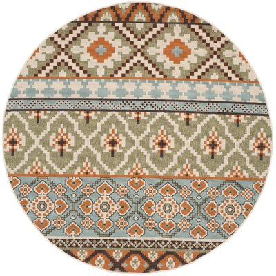 Rangely Green/Terracotta Indoor/Outdoor Area Rug Rug Size: Round 67