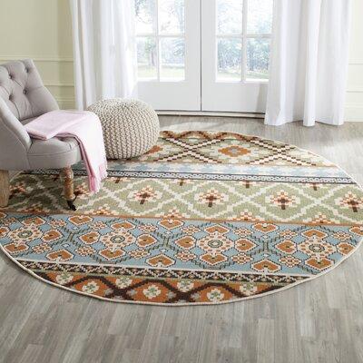 Rangely Green/Terracotta Indoor/Outdoor Area Rug Rug Size: Round 67