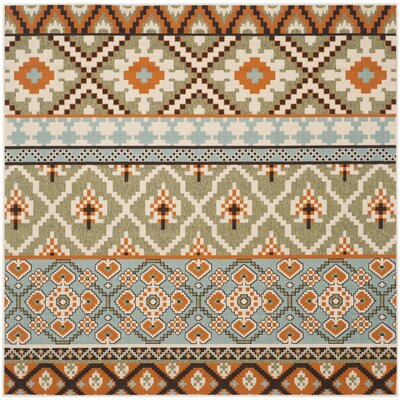 Rangely Green/Terracotta Indoor/Outdoor Area Rug Rug Size: Square 67