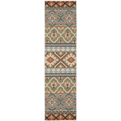 Rangely Green/Terracotta Indoor/Outdoor Area Rug Rug Size: Runner 23 x 8