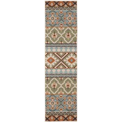 Rangely Green/Terracotta Indoor/Outdoor Area Rug Rug Size: Rectangle 27 x 5