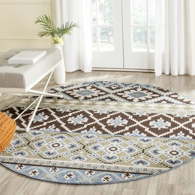 Rangely Chocolate/Blue Indoor/Outdoor Area Rug Rug Size: Round 67