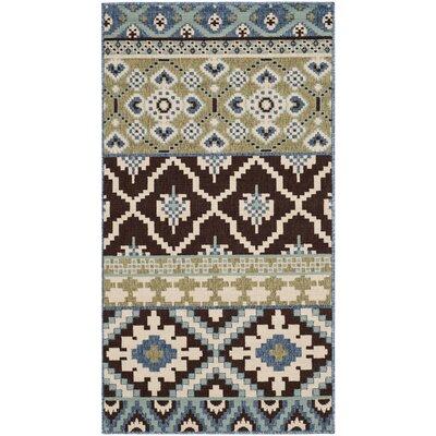 Rangely Chocolate / Blue Indoor/Outdoor Area Rug Rug Size: 4 x 57