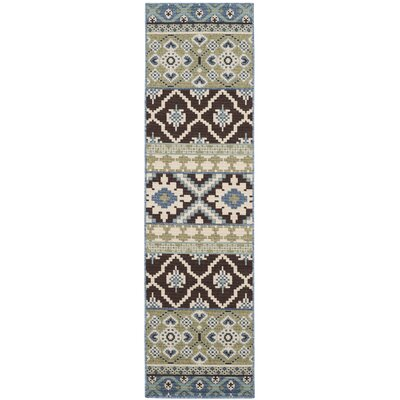 Rangely Chocolate/Blue Indoor/Outdoor Area Rug Rug Size: Runner 23 x 8
