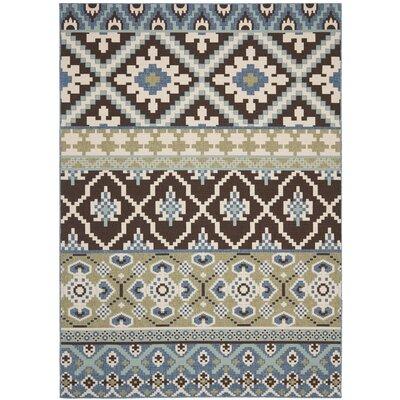 Rangely Chocolate / Blue Indoor/Outdoor Area Rug Rug Size: 53 x 77
