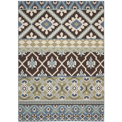 Rangely Chocolate / Blue Indoor/Outdoor Area Rug Rug Size: 67 x 96