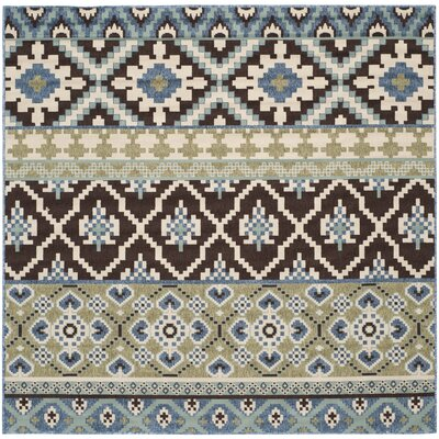 Rangely Chocolate/Blue Indoor/Outdoor Area Rug Rug Size: Square 67