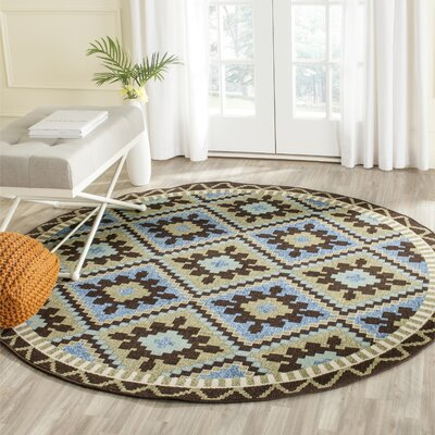 Rangely Green/Chocolate Indoor/Outdoor Area Rug Rug Size: Round 67