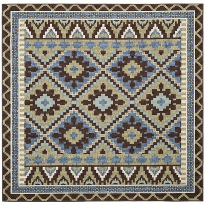 Rangely Green/Chocolate Indoor/Outdoor Area Rug Rug Size: Square 67